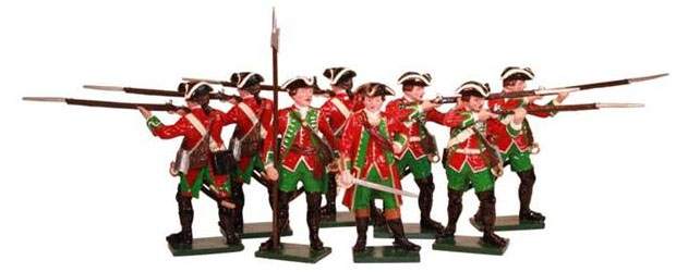 Britisches 51st Regiment of Foot, Siebenjähriger Krieg, 1757–1763, 54 mm Zinnfiguren Tradition 600SE6