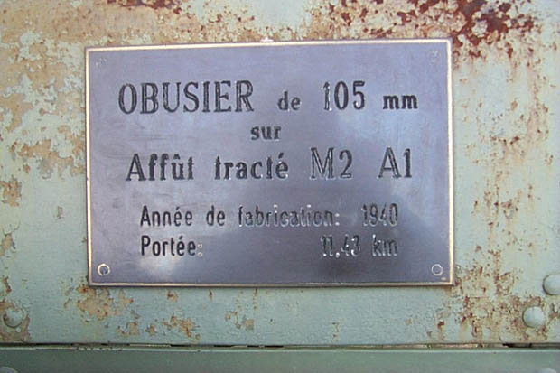 Plaque on the howitzer shield