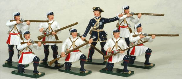 Offizier und Soldaten der Compagnies Franches de la Marine, 54 mm Zinnfiguren Tradition of London Toy Set 620