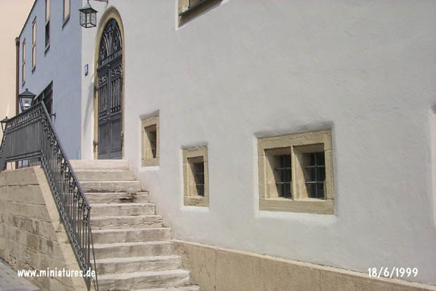Protestant church, detail of the front steps und entrance
