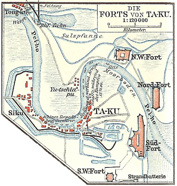Taku-Forts bei Tientsin (Tianjin) in China