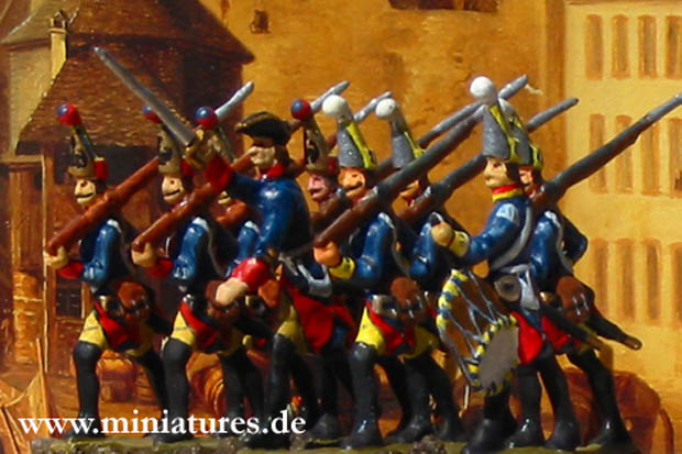 Grenadiere, 40 mm Zinnfiguren Prince August