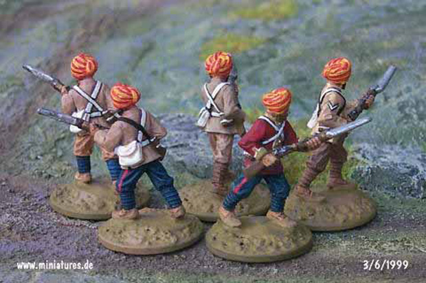 British Indian 15th Bengal Infantry (Ludhiana Sikhs), 25 mm Zinnfiguren Ral Partha 88-101 & 88-103