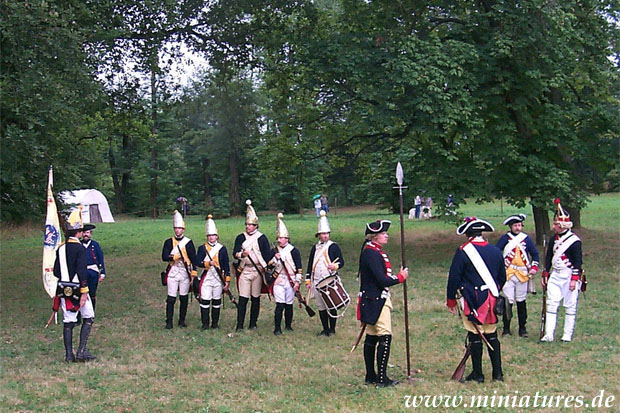 Grenadiere of the Hessian infantry regiments drilling together