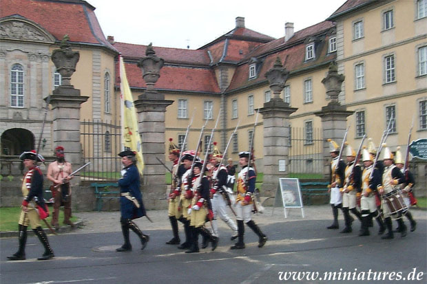 The infantry column in front of Schloss Fasanerie