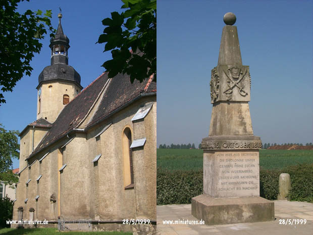 Liebertwolkwitz church, and the Russian-Prussian monument on the Liebertwolkwitz-Güldengossa road